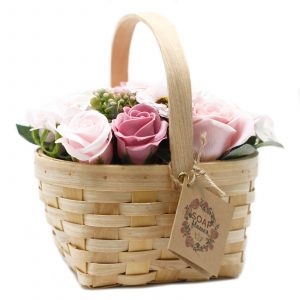 Large Soap Flower Wicker Basket