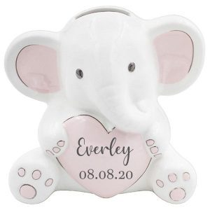 Elephant Heart Money Box Blue & Pink